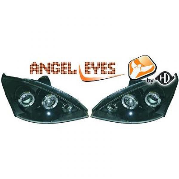 angel eyes koplampen ford focus mk1 1998 2001 zwart 1415780. Black Bedroom Furniture Sets. Home Design Ideas