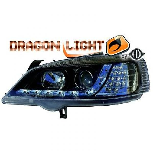 koplampen met led verlichting opel astra g 1997 2004 zwart 1805885. Black Bedroom Furniture Sets. Home Design Ideas