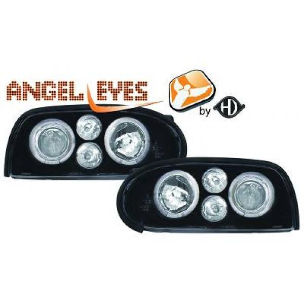 angel eyes koplampen volkswagen golf 3 1991 1997 zwart 2212385. Black Bedroom Furniture Sets. Home Design Ideas