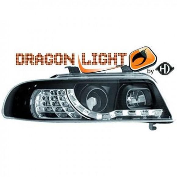 Koplampen met LED verlichting Audi A4 B5 - Zwart