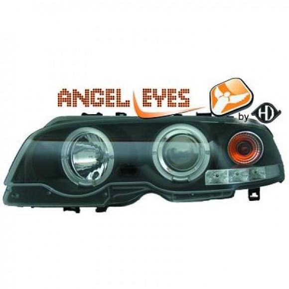 angel eyes koplampen bmw 3 serie e46 1999 2003 zwart. Black Bedroom Furniture Sets. Home Design Ideas