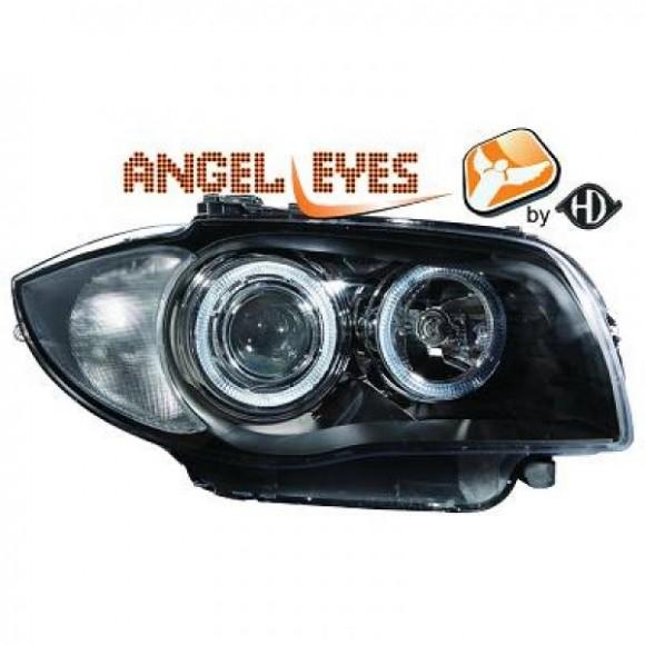 angel eyes koplampen bmw 1 serie e87 2004 2011 zwart. Black Bedroom Furniture Sets. Home Design Ideas