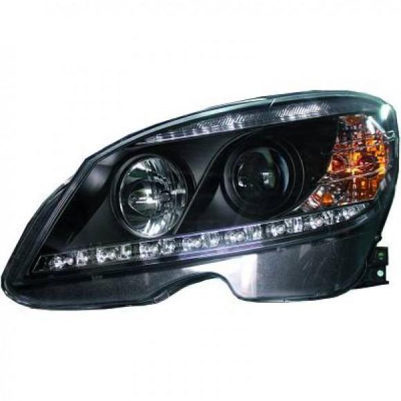 Koplampen met LED verlichting Mercedes C-klasse W204 - Zwart