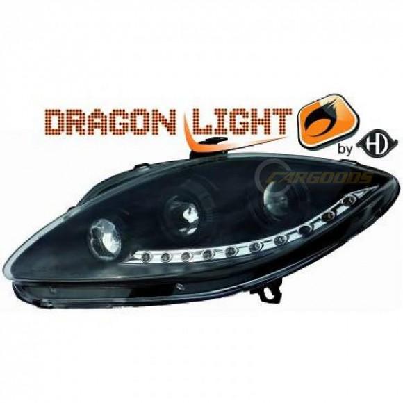 Koplampen met LED verlichting Seat Leon 1P (2004 - 2009) - Zwart ...