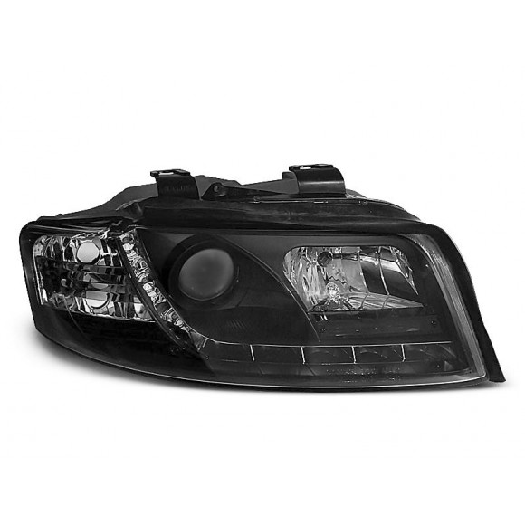 Koplampen met LED verlichting AUDI A4 8E/B6 - Zwart   KLAU320