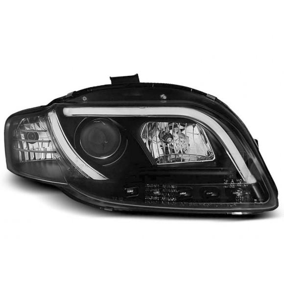 Koplampen met LED verlichting AUDI A4 B7 - Zwart   KLAU900