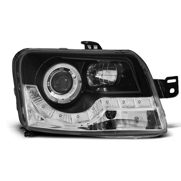 Koplampen met LED verlichting FIAT PANDA - Zwart | KLFI140