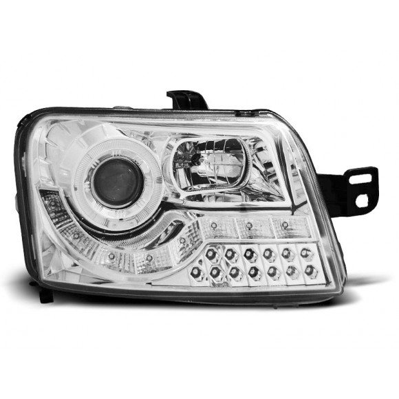 Koplampen met LED verlichting FIAT PANDA - Chroom | KLFI150