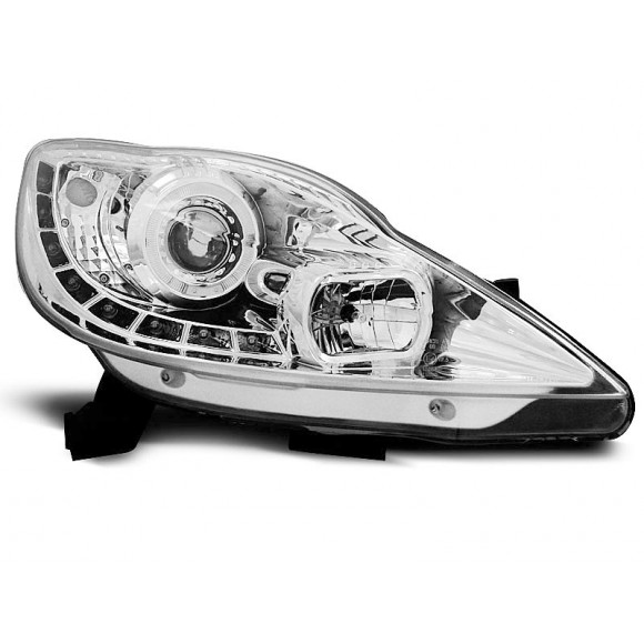 Koplampen met LED verlichting PEUGEOT 107 - Chroom | KLPE240