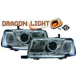 Koplampen met LED verlichting Audi 80 B4 - Chroom