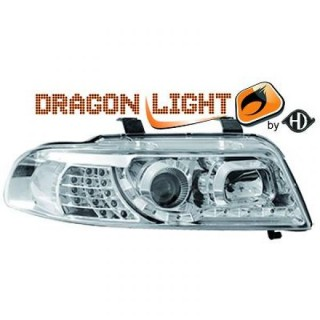 Koplampen met LED verlichting Audi A4 B5 - Chroom