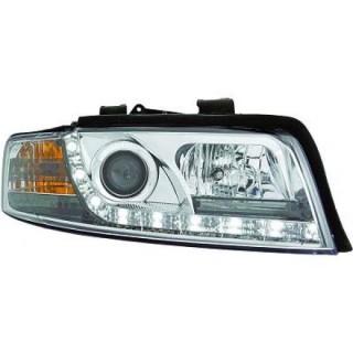 Koplampen met LED verlichting Audi A4 B6 - Chroom