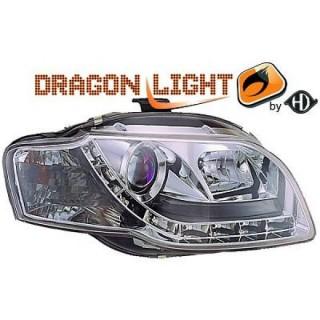 Koplampen met LED verlichting Audi A4 B7 - Chroom
