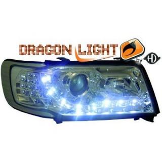 Koplampen met LED verlichting Audi 100 C4 - Chroom