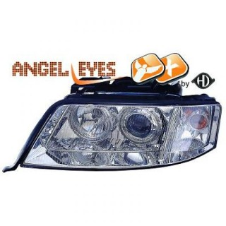 Angel eyes koplampen Audi A6 C5 - Chroom