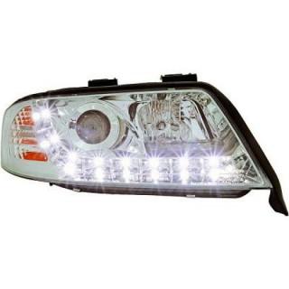 Koplampen met LED verlichting Audi A6 C5 - Chroom