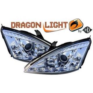 Koplampen met LED verlichting Ford Focus MK1 - Chroom