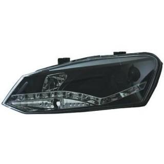 Koplampen met LED Dagrijverlichting Volkswagen Polo 6R - Zwart
