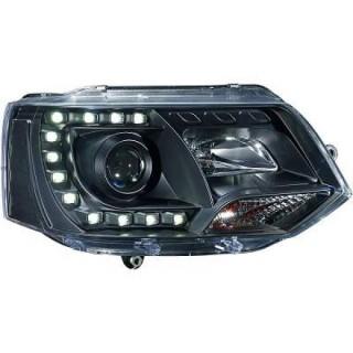 Koplampen met dagrijverlichting Vw Transporter T5 - Zwart