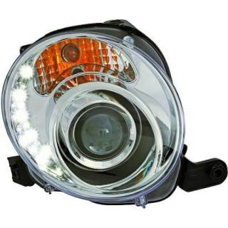 Koplampen met LED verlichting Fiat 500 - Chroom