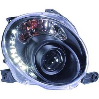 Koplampen met LED verlichting Fiat 500 - Zwart