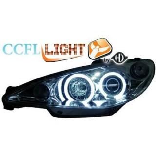 CCFL Angel eyes koplampen Peugeot 206 - Chroom