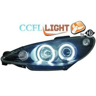 CCFL Angel eyes koplampen Peugeot 206 - Zwart