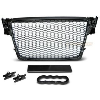 RS-Look Embleemloze grille AUDI A4 B8  - Mat zwart