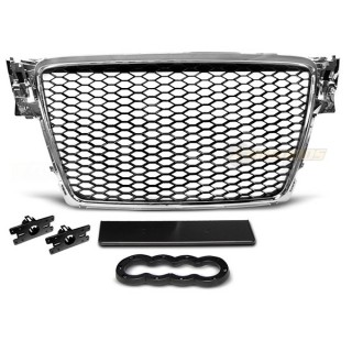 RS-Look Embleemloze grille AUDI A4 B8  - Chroom