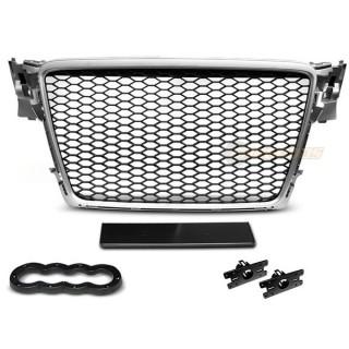 RS-Look Embleemloze grille AUDI A4 B8  Zilver