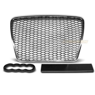 RS-Look Embleemloze grille AUDI A6 C6  - Chroom