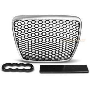 RS-Look Embleemloze grille AUDI A6 C6  Zilver