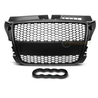 RS-Look Embleemloze grille GRILL AUDI A3 (8P)   - Mat Zwart