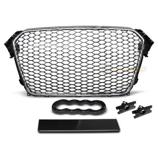 RS-Look Embleemloze grille GRILL AUDI A4 (B8)   - Chroom/Zwart