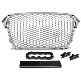 RS-Look Embleemloze grille GRILL AUDI A4 (B8)   - Zilver