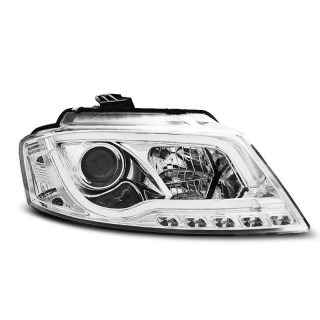 Koplampen met LED Dagrijverlichting AUDI A3 8P - Chroom