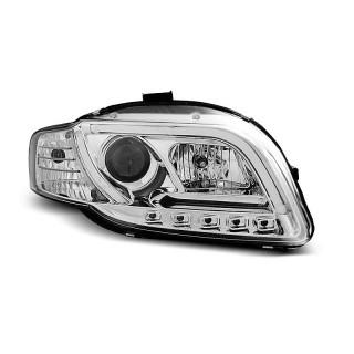 Koplampen met LED Dagrijverlichting AUDI A4 B7- Chroom