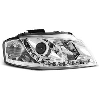 Koplampen met LED verlichting AUDI A3 8P  - Chroom