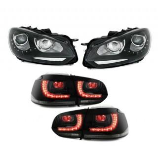 Zwarte LED Koplampen met Smoke LED Achterlichten Vw Golf 6