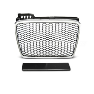 RS-Look Embleemloze grille AUDI A4 (B7)   - Mat zilver