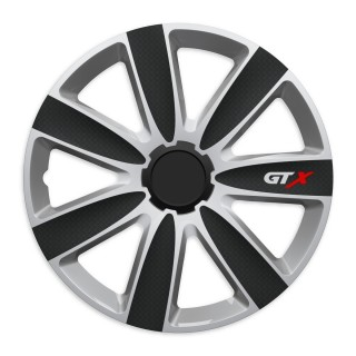 Wieldoppen GTX carbon Zwart & Zilver 14 inch - 4 stuks