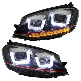 Zwarte Koplampen met LED dagrijverlichting Vw Golf 7 2012-2017