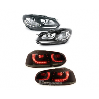 Zwarte LED Koplampen met Rood/Smoke LED Achterlichten Vw Golf 6