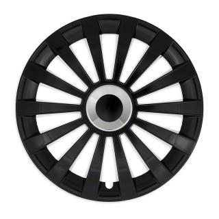 Wieldoppen Meridian zwart met ring 15 inch - 4 stuks