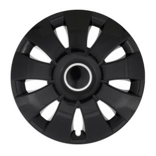 Wieldoppen Aura zwart met ring 15 inch - 4 stuks