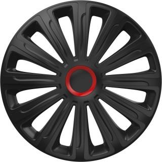 Wieldoppen Trend Zwart & Rood 16 inch - 4 stuks