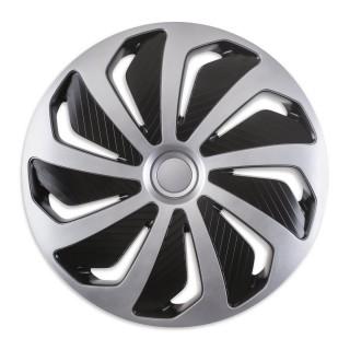 Wieldoppen Wind Zwart & Zilver 15 inch - 4 stuks
